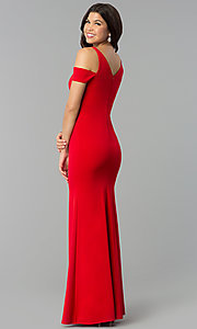 Image of red v-neck cold-shoulder prom dress with side slit. Style: MCR-2238 Back Image