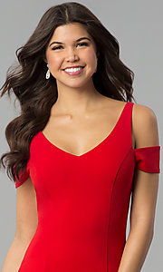 Image of red v-neck cold-shoulder prom dress with side slit. Style: MCR-2238 Detail Image 1