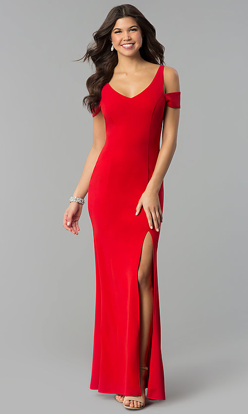 Image of red v-neck cold-shoulder prom dress with side slit. Style: MCR-2238 Front Image