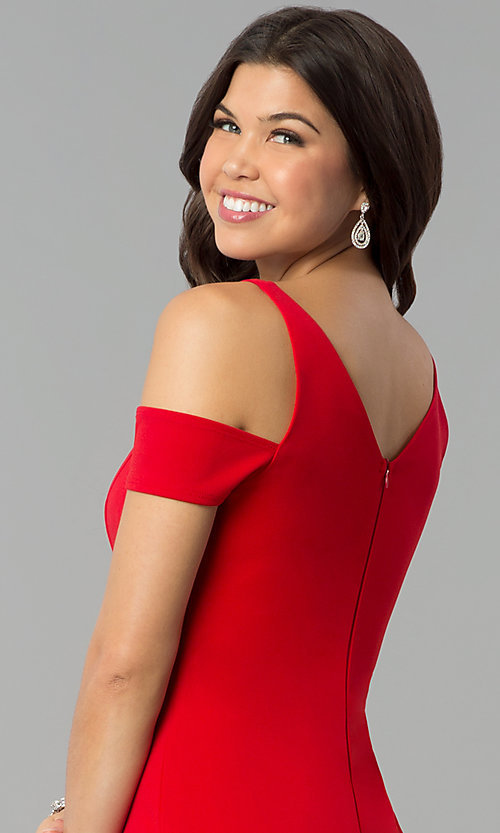 Image of red v-neck cold-shoulder prom dress with side slit. Style: MCR-2238 Detail Image 2