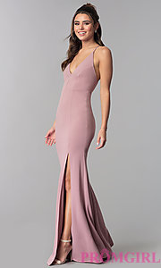 Image of adjustable-strap open-back v-neck long prom dress. Style: MCR-2304 Detail Image 3