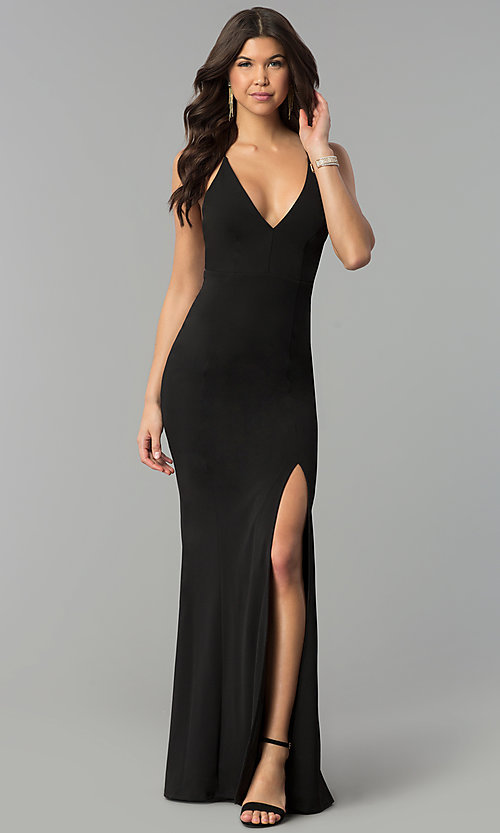Image of adjustable-strap open-back v-neck long prom dress. Style: MCR-2304 Detail Image 1