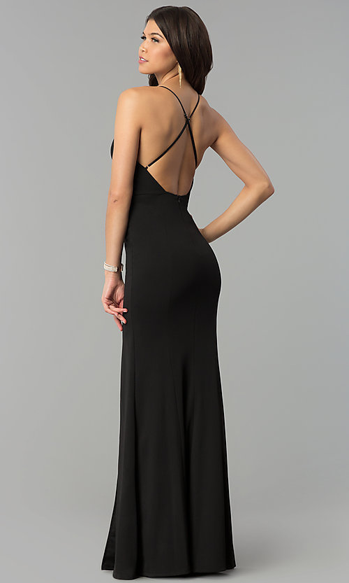 Image of adjustable-strap open-back v-neck long prom dress. Style: MCR-2304 Back Image