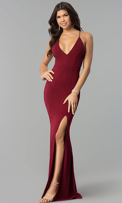 78e3d7e85fa Image of adjustable-strap open-back v-neck long prom dress. Style