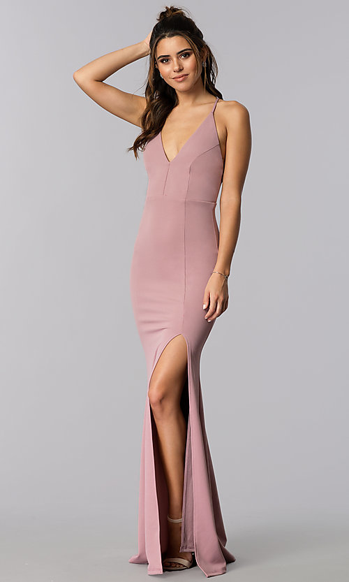 Image of adjustable-strap open-back v-neck long prom dress. Style: MCR-2304 Front Image