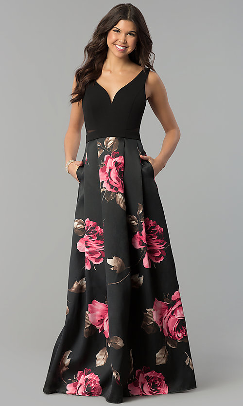 Image of decolletage-v-neck floral-print satin prom dress. Style: MCR-2305 Front Image