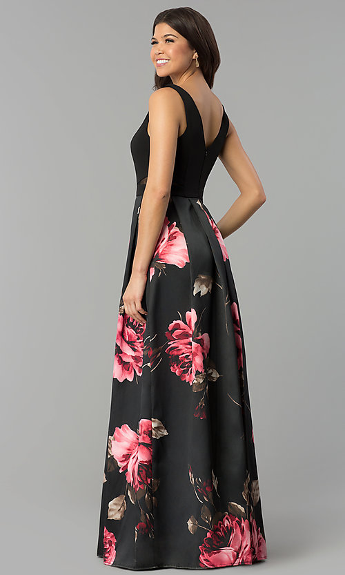 Image of decolletage-v-neck floral-print satin prom dress. Style: MCR-2305 Back Image