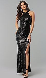 Image of long sequin high-neck racerback prom dress. Style: MCR-2310 Detail Image 1