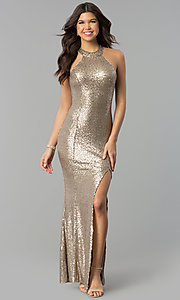 Image of long sequin high-neck racerback prom dress. Style: MCR-2310 Front Image