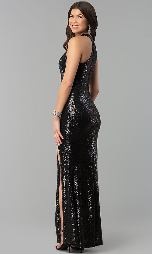 Image of long sequin high-neck racerback prom dress. Style: MCR-2310 Back Image
