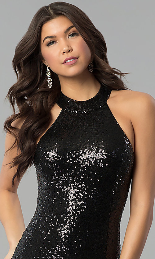 Image of long sequin high-neck racerback prom dress. Style: MCR-2310 Detail Image 2