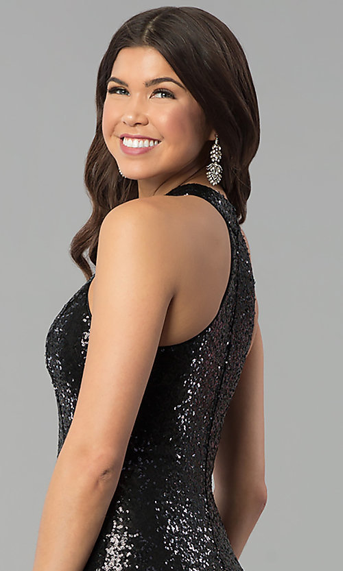 Image of long sequin high-neck racerback prom dress. Style: MCR-2310 Detail Image 3