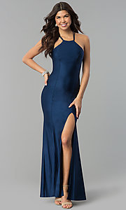 Long Navy Blue Prom Dress with Racer Front