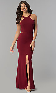Image of burgundy red high-neck racer-front long prom dress. Style: MCR-2230 Front Image