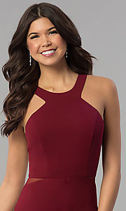 Image of burgundy red high-neck racer-front long prom dress. Style: MCR-2230 Detail Image 1