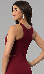 Image of burgundy red high-neck racer-front long prom dress. Style: MCR-2230 Detail Image 2