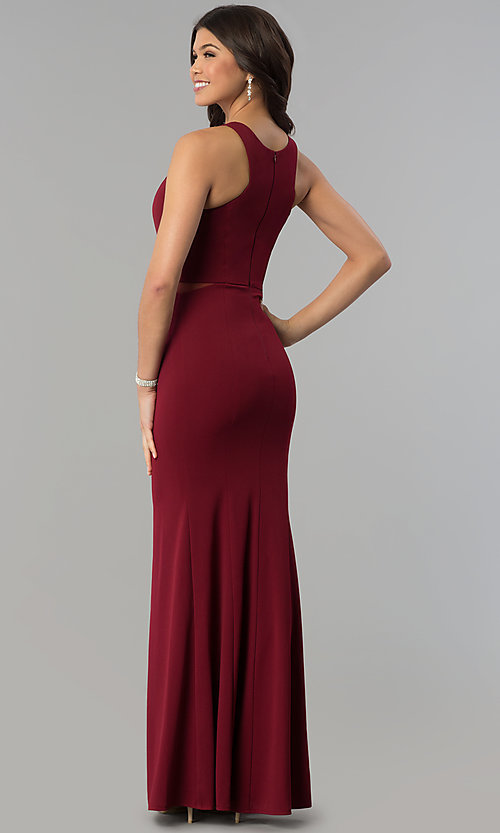 Image of burgundy red high-neck racer-front long prom dress. Style: MCR-2230 Back Image