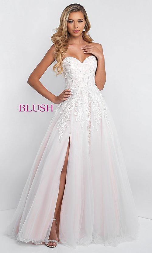 785a1ca464 A-Line Embroidered Prom Dress by Blush
