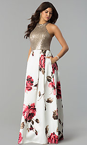 Sequin-Bodice Long Floral-Print Prom Dress