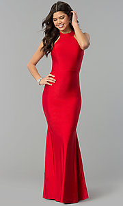 Image of high-neck racerback long mermaid prom dress.  Style: MCR-2349 Front Image