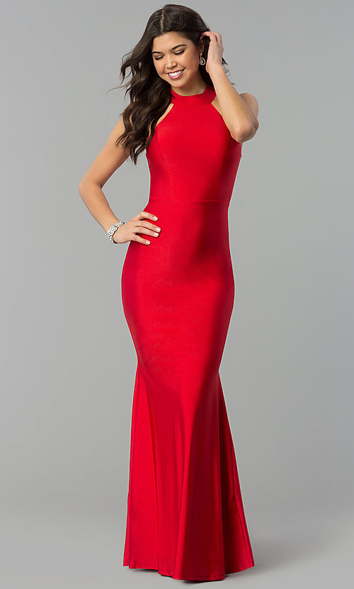 db2c1fcccea9 Image of high-neck racerback long mermaid prom dress. Style: MCR-2349