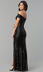 Image of sequin off-the-shoulder long prom dress with slit. Style: MCR-2362 Back Image