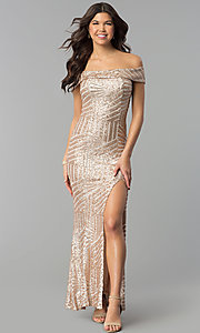Image of sequin off-the-shoulder long prom dress with slit. Style: MCR-2362 Front Image