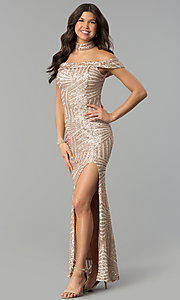 Image of sequin off-the-shoulder long prom dress with slit. Style: MCR-2362 Detail Image 1