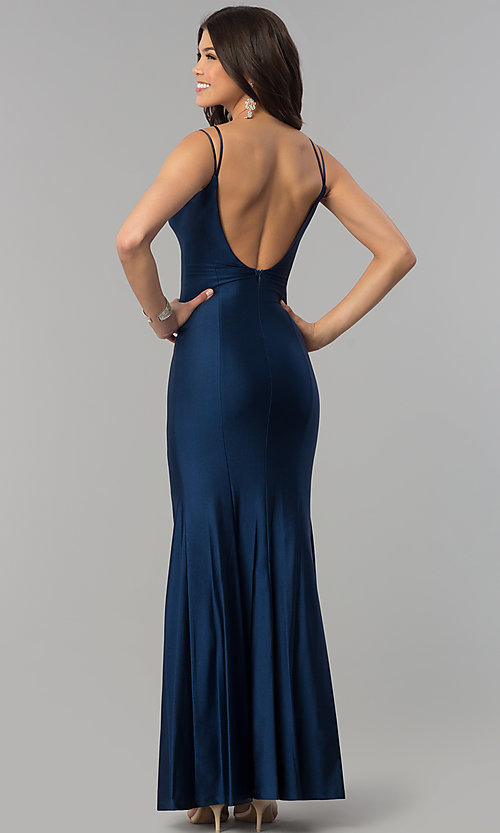 Image of notched sweetheart long prom dress with scoop back.  Style: MCR-2363 Back Image