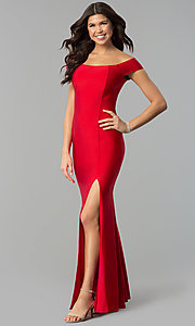 Image of long off-the-shoulder spandex formal prom dress. Style: MCR-2364 Front Image