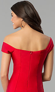 Image of long off-the-shoulder spandex formal prom dress. Style: MCR-2364 Detail Image 2
