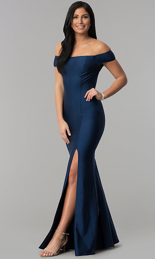 Image of long off-the-shoulder spandex formal prom dress. Style: MCR-2364 Detail Image 3