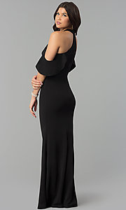 Image of cold-shoulder high-neck long mermaid prom dress. Style: MCR-2369 Back Image
