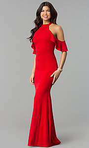 Image of cold-shoulder high-neck long mermaid prom dress. Style: MCR-2369 Front Image