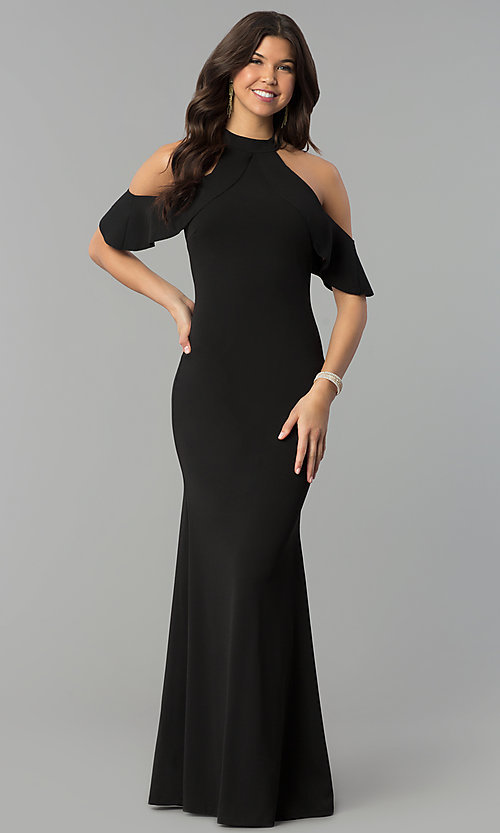 Image of cold-shoulder high-neck long mermaid prom dress. Style: MCR-2369 Detail Image 1