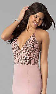 Image of sequin-bodice long prom dress with jersey skirt. Style: MCR-2370 Detail Image 1