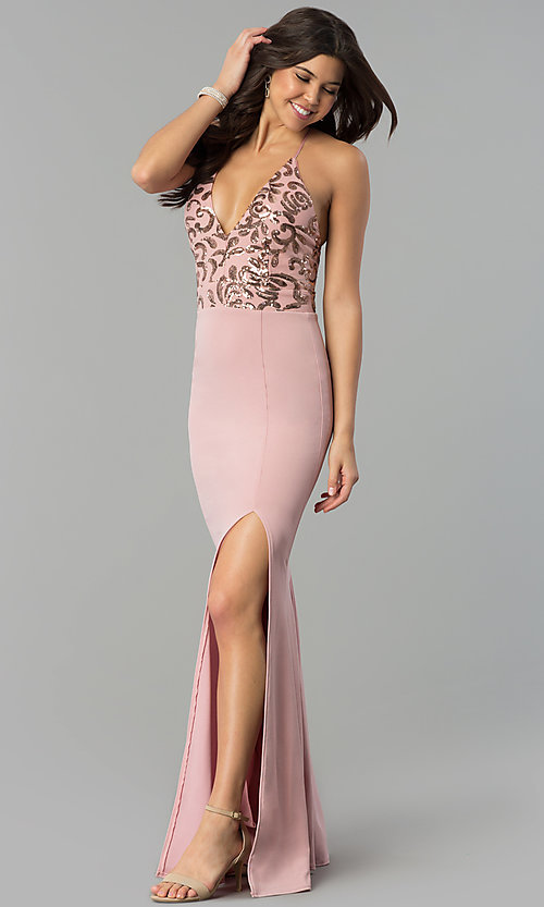 Image of sequin-bodice long prom dress with jersey skirt. Style: MCR-2370 Detail Image 3