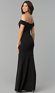 Image of off-the-shoulder side-slit black jersey prom dress. Style: MCR-2372 Back Image