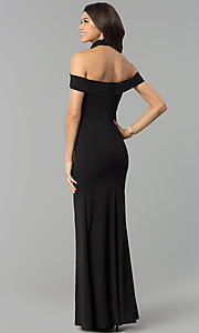 Image of off-the-shoulder side-slit black jersey prom dress. Style: MCR-2372 Detail Image 3