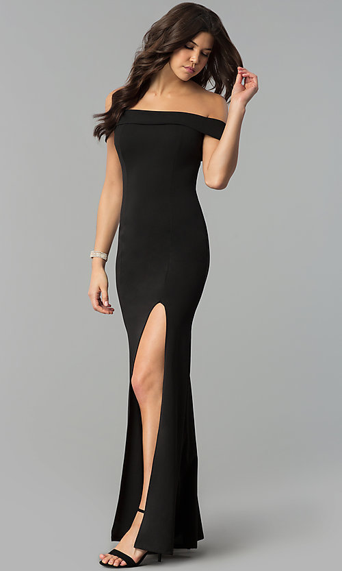 Image of off-the-shoulder side-slit black jersey prom dress. Style: MCR-2372 Front Image