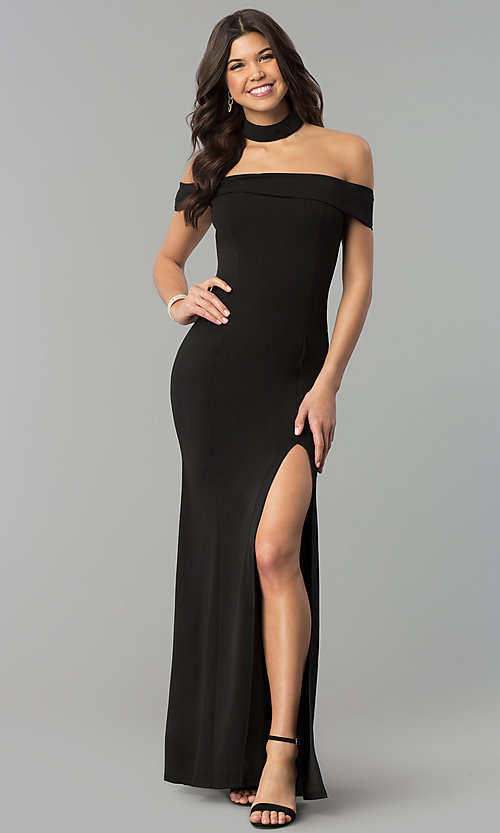 Image of off-the-shoulder side-slit black jersey prom dress. Style: MCR-2372 Detail Image 2