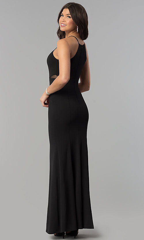 Image of high-neckline keyhole long prom dress. Style: MCR-2373 Back Image