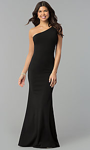 Image of black jersey one-shoulder long mermaid prom dress. Style: MCR-2374 Front Image