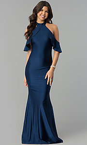 Image of high-neck cold-shoulder long prom dress in navy blue. Style: MCR-2383 Front Image