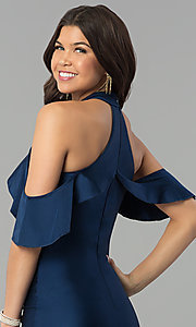 Image of high-neck cold-shoulder long prom dress in navy blue. Style: MCR-2383 Detail Image 2