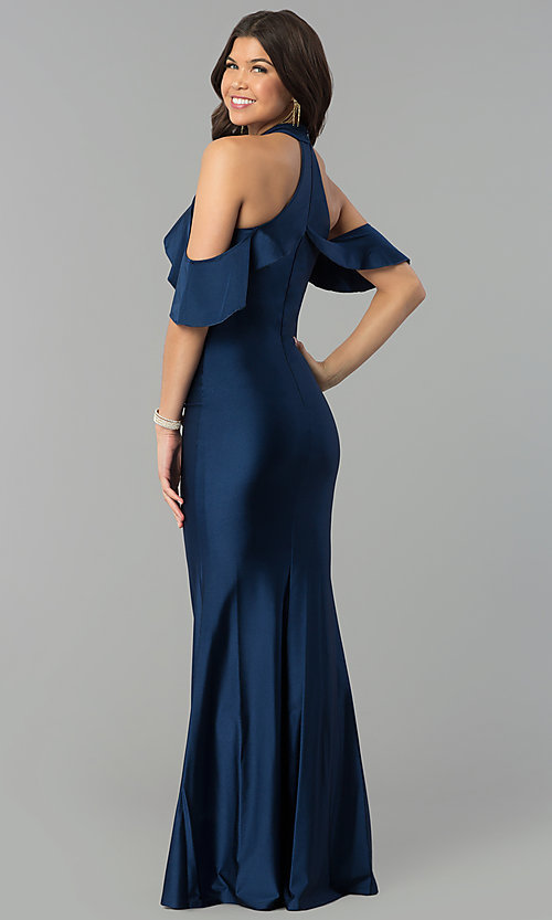 Image of high-neck cold-shoulder long prom dress in navy blue. Style: MCR-2383 Back Image