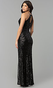 Image of long racerback prom dress with art deco sequin design. Style: MCR-2386 Back Image
