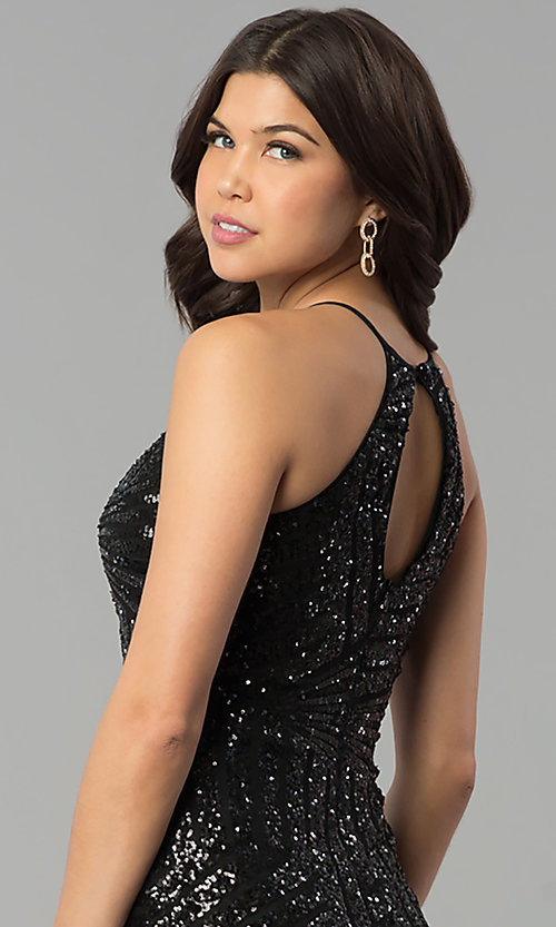 Image of long racerback prom dress with art deco sequin design. Style: MCR-2386 Detail Image 3