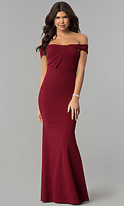 Pleated-Bodice Off-the-Shoulder Long Prom Dress