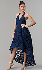 Image of high-low navy blue lace prom dress with v-neck halter. Style: LP-24966N Front Image